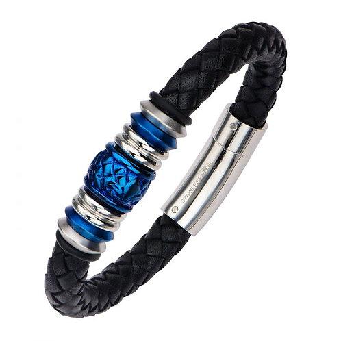 Brazalete de piel negro - Cuentas azul y plata