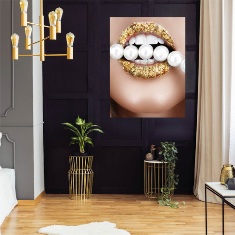 Plexiglas kunst dibond wallplate gold pe