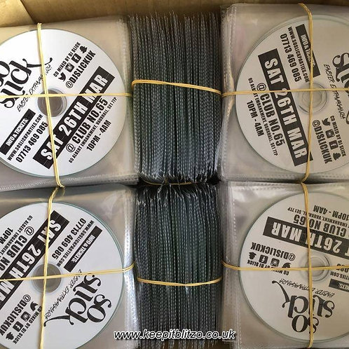 1000 Cds with black and white text Printed on the cds