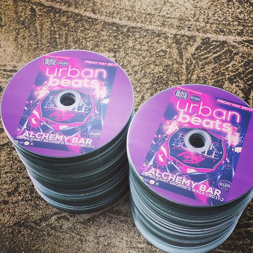 100 cds with artwork printed on the disc packed in sleeves