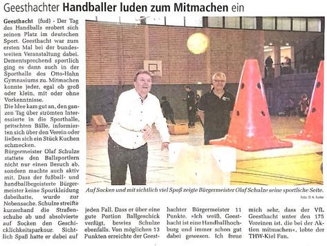Geesthachter Anzeiger 19.11.2019 zum Tag des Handballs