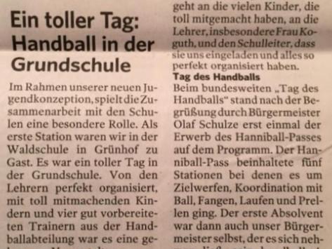 Lauenburger Landeszeitung 16.11.2019 - Handball in der Grundschule