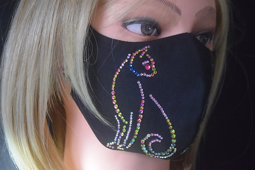 Pink Cat Bling Mask/Face Covering