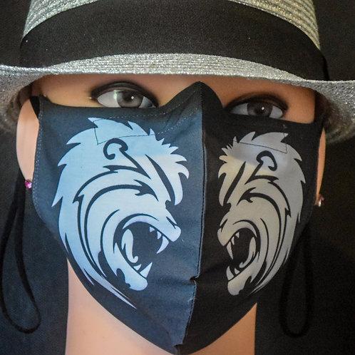Roaring Leo White on Black Mask/Face Covering