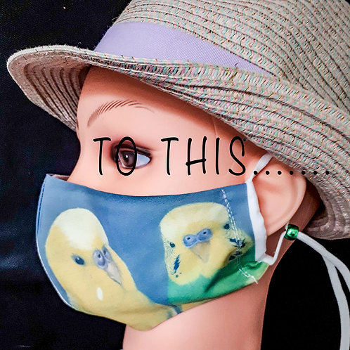 Budgies Photograph Mask/Face Covering