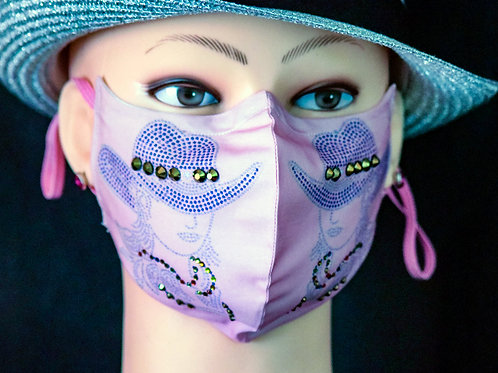 Cowgirl Hat Bling Mask/Face Covering