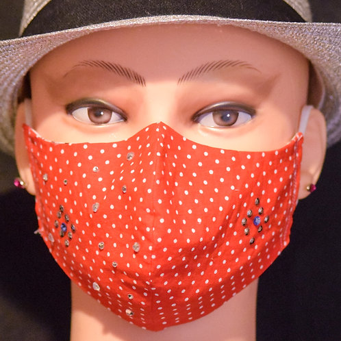 Red with White Spots Bling Mask/Face Covering