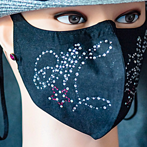 Your Name Letter Large M Bling Mask/Face Covering