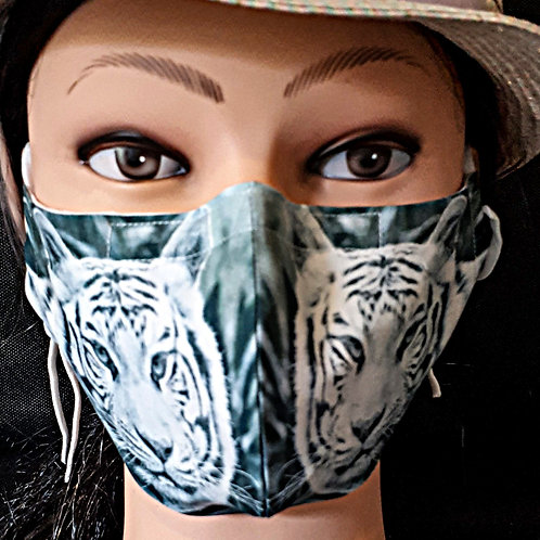 White Tiger Photograph Mask/Face Covering