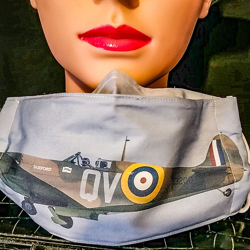 Spitfire Plane Photograph Mask/Face Covering
