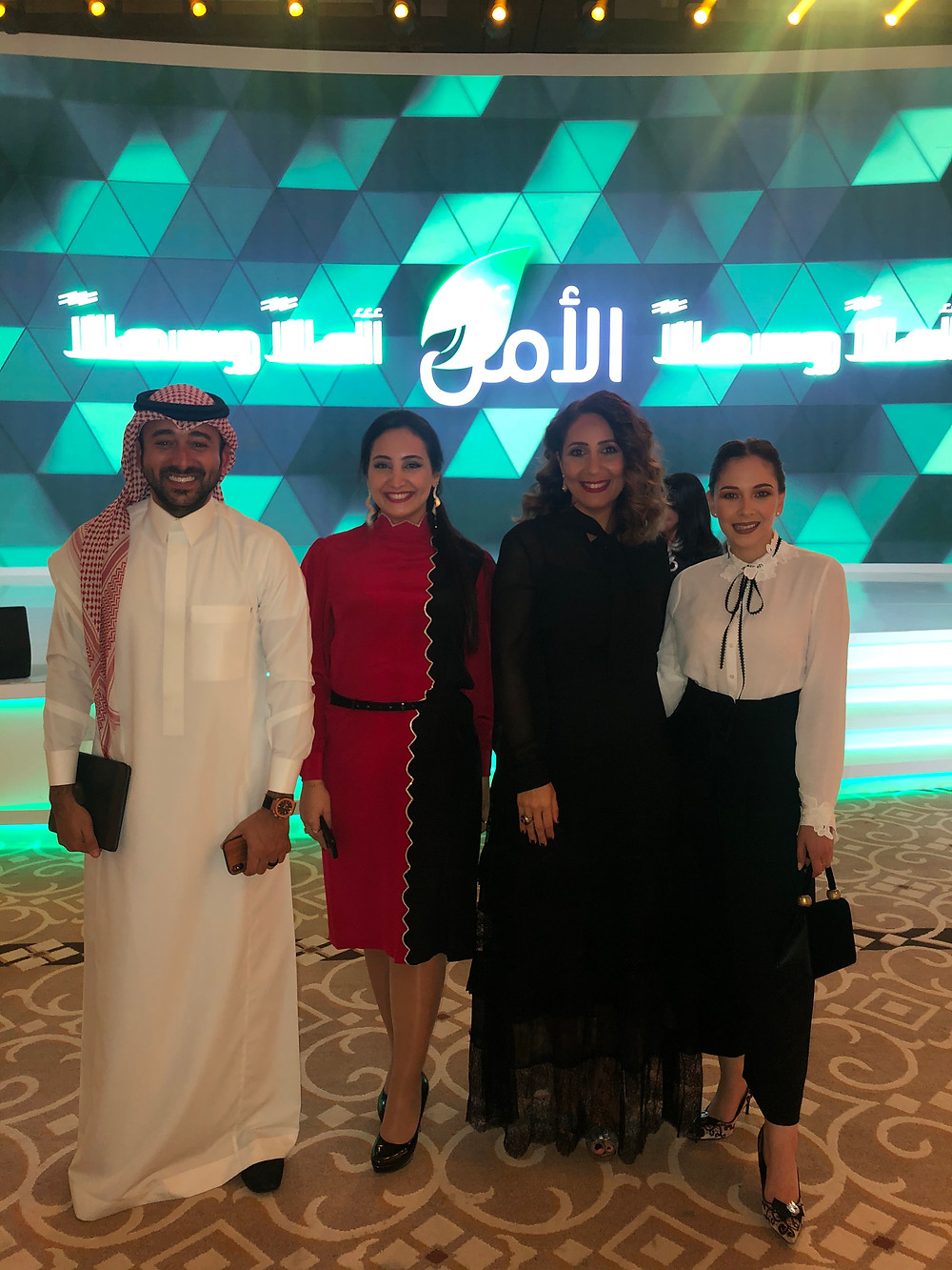 With the evening's host: Yasser AlSaggaf - AMC Amal team member: Sara Shatila - and the leading heart of MBC Al Amal: Mariam Farag