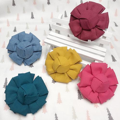 Barrette cheveux fleur rose tissu coton