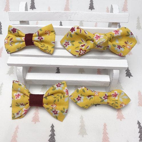Barrette cheveux noeud papillon tissu coton imprimé fleuri moutard rouge