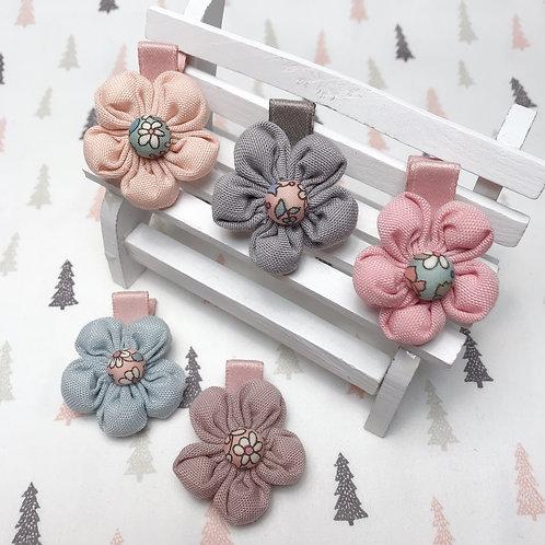 Barrette cheveux fleur en tissu coton