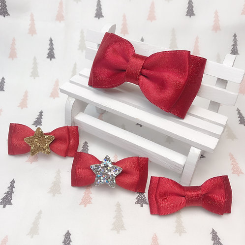 Barrette noeud paillon Noël