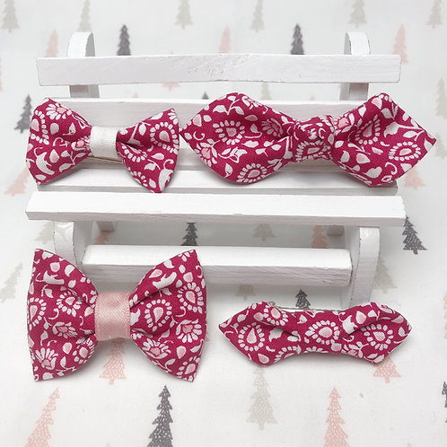 Barrette cheveux noeud papillon tissu coton imprimé fleuri rouge blanc