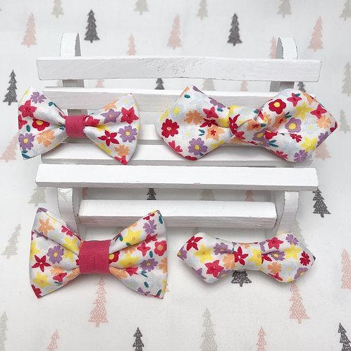 Barrette cheveux noeud papillon tissu coton imprimé fleuri multicolors