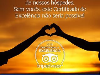 Cabanas Hotel recebe o Certificado de Excelência TripAdvisor