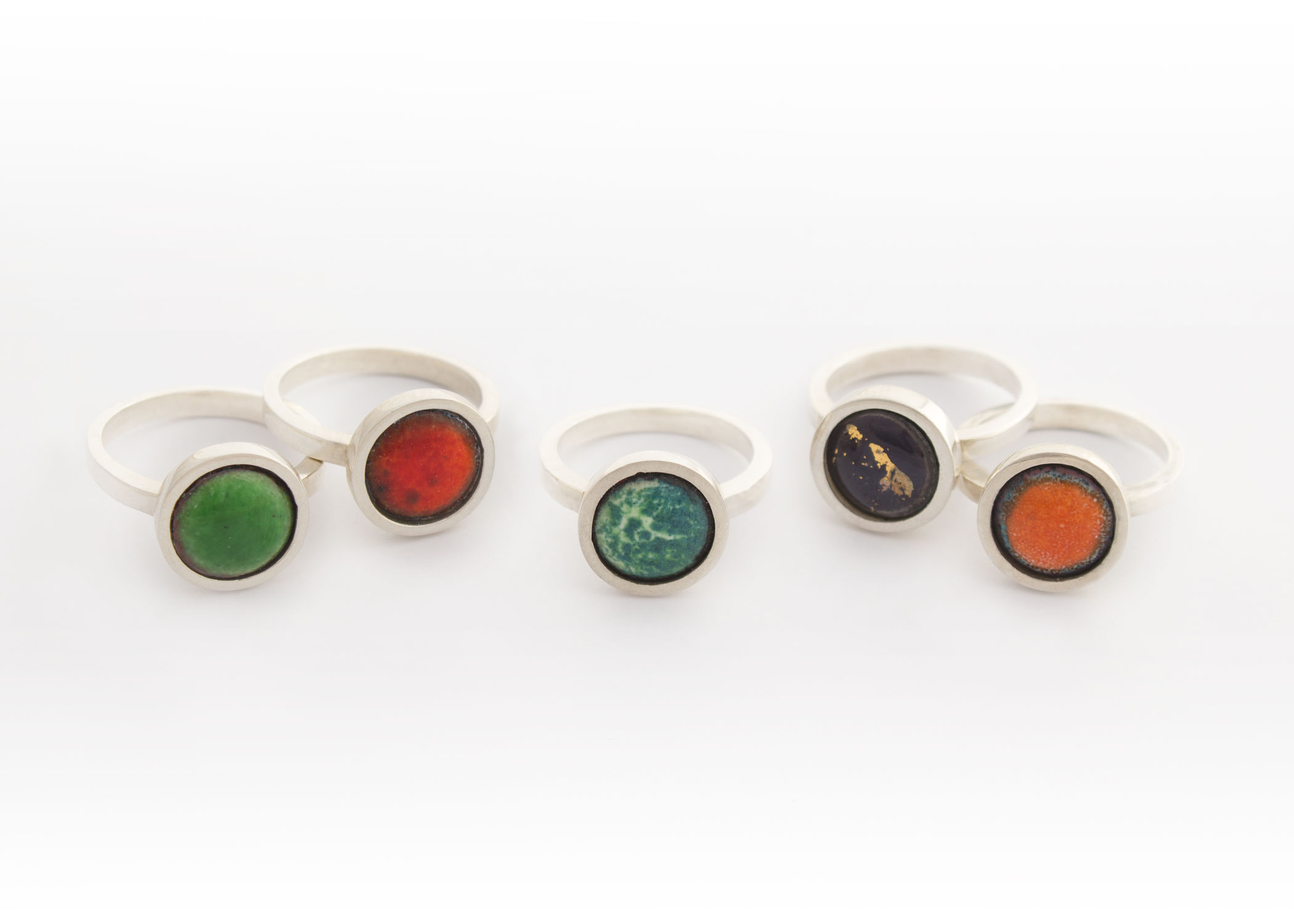 Silver and enamel rings