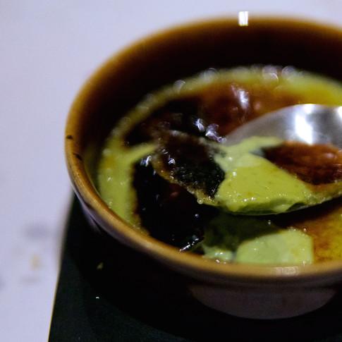 Crème brûlée de té matcha