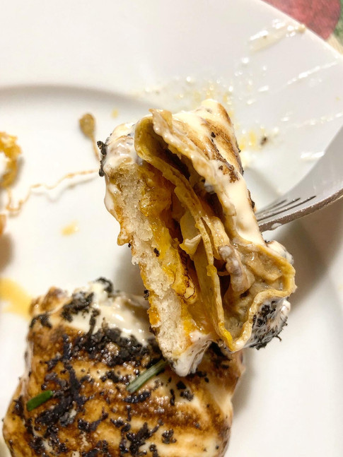 Raviolis de boletus, trufa y yema de huevo
