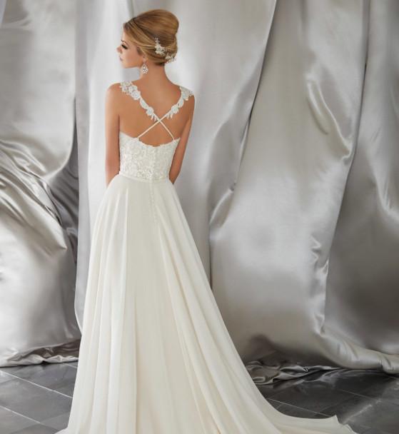CROSS BACK LACE TOP WEDDING DRESS