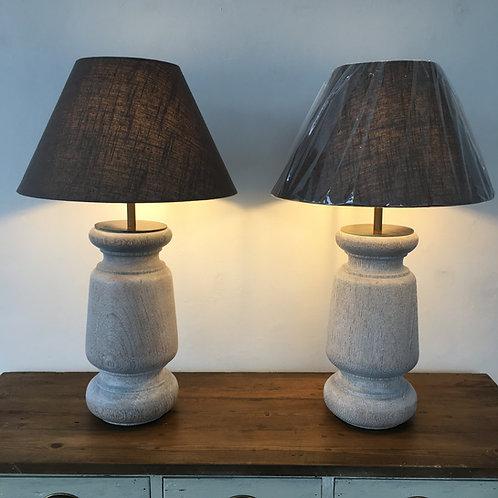 Pair of Oak Lamps