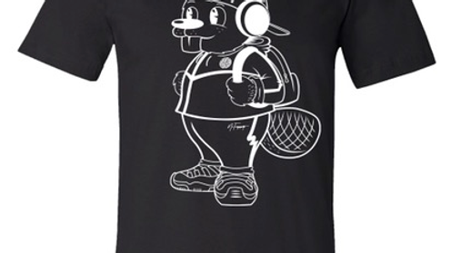 BLACK QUIRK OUTLINE TEE