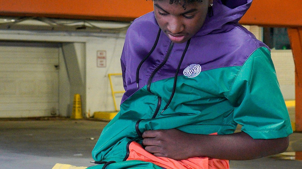 GREEN\PURPLE\ORANGE WINDBREAKER HOODED SHORT SET