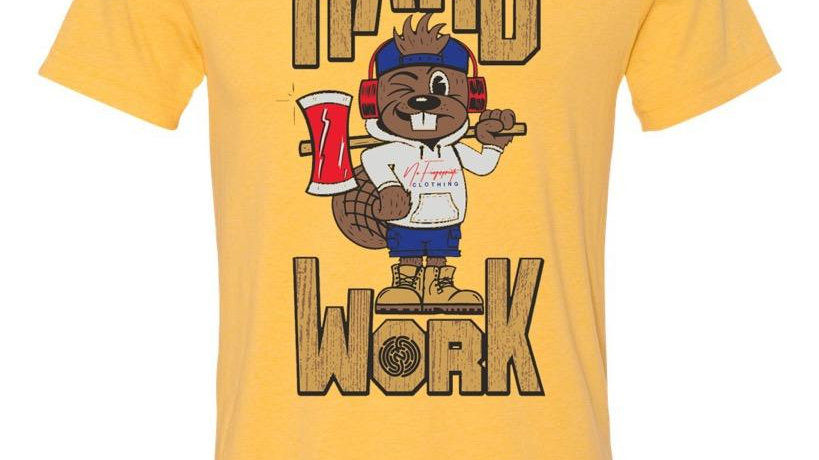 "YELLOW ""HARD WORK QUIRK"" TEE"