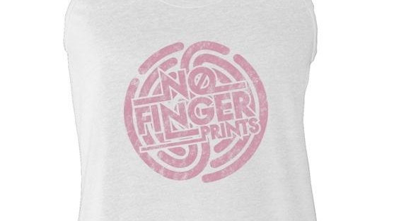 LADIES WHITE TANK WITH PINK NFP LOGO