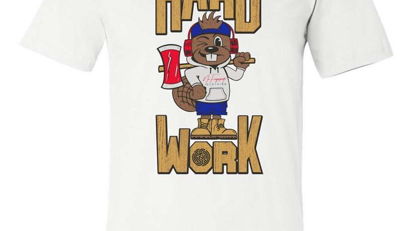 "WHITE ""HARD WORK QUIRK"" TEE"