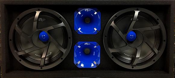 "VOICEBOX® Dual 10"" Midrange Enclosure with Horns - BLUE"