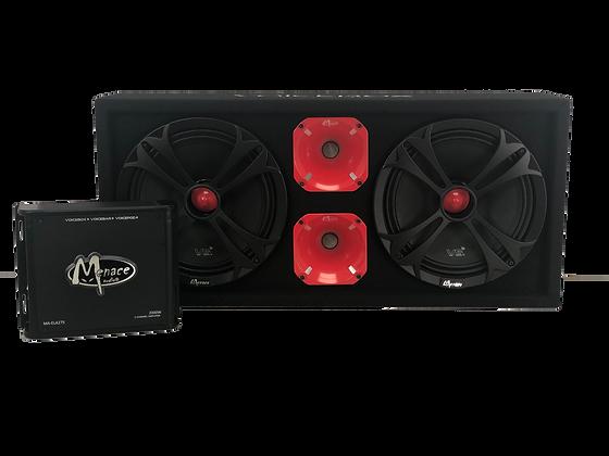 """VOICEBOX® Dual""""10 Midrange Enclosure + Amplifier Combo Package"""