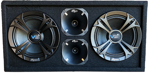 "VOICEBOX® Dual 8"" Midrange Enclosure with Horns - BLACK"