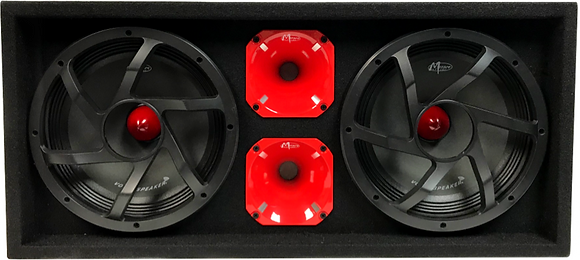 "VOICEBOX® Dual 10"" Midrange Enclosure with Horns - RED"