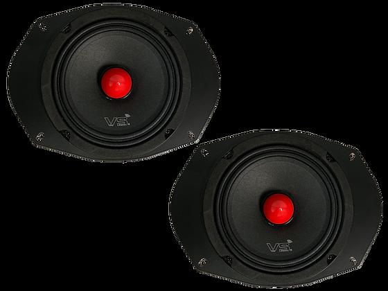 Menace Audio® 6x9 Midrange Plate Speaker PAIR - Red Bullet