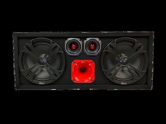 """Menace Audio® Dual 10"""" Loaded Midrange Speaker Box w/ Horn & Tweeters -RED"""