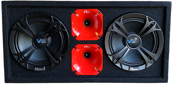"VOICEBOX® Dual 8"" Midrange Enclosure with Horns - RED"