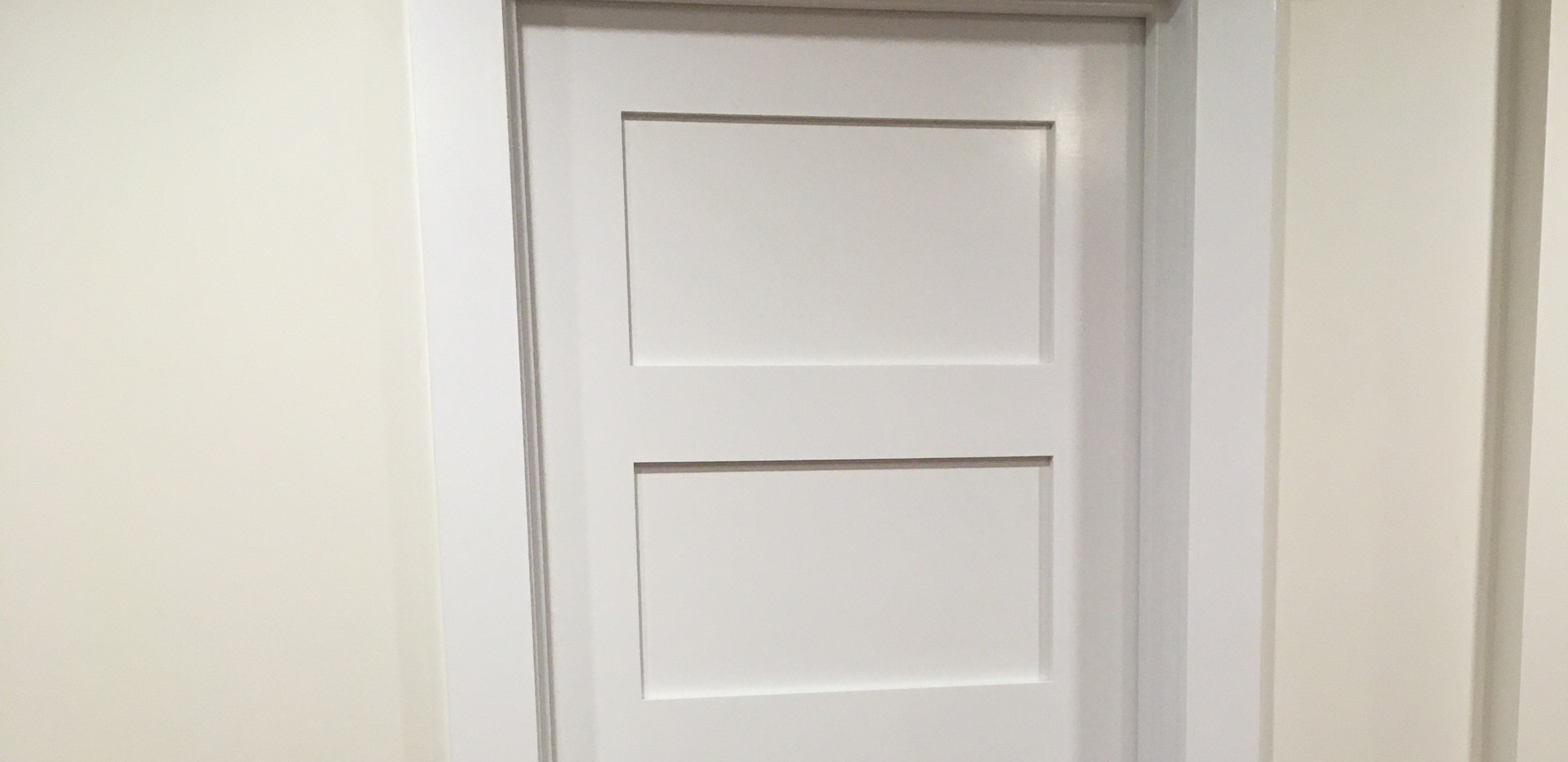 Craftsman style trim on 5 panel shaker door.
