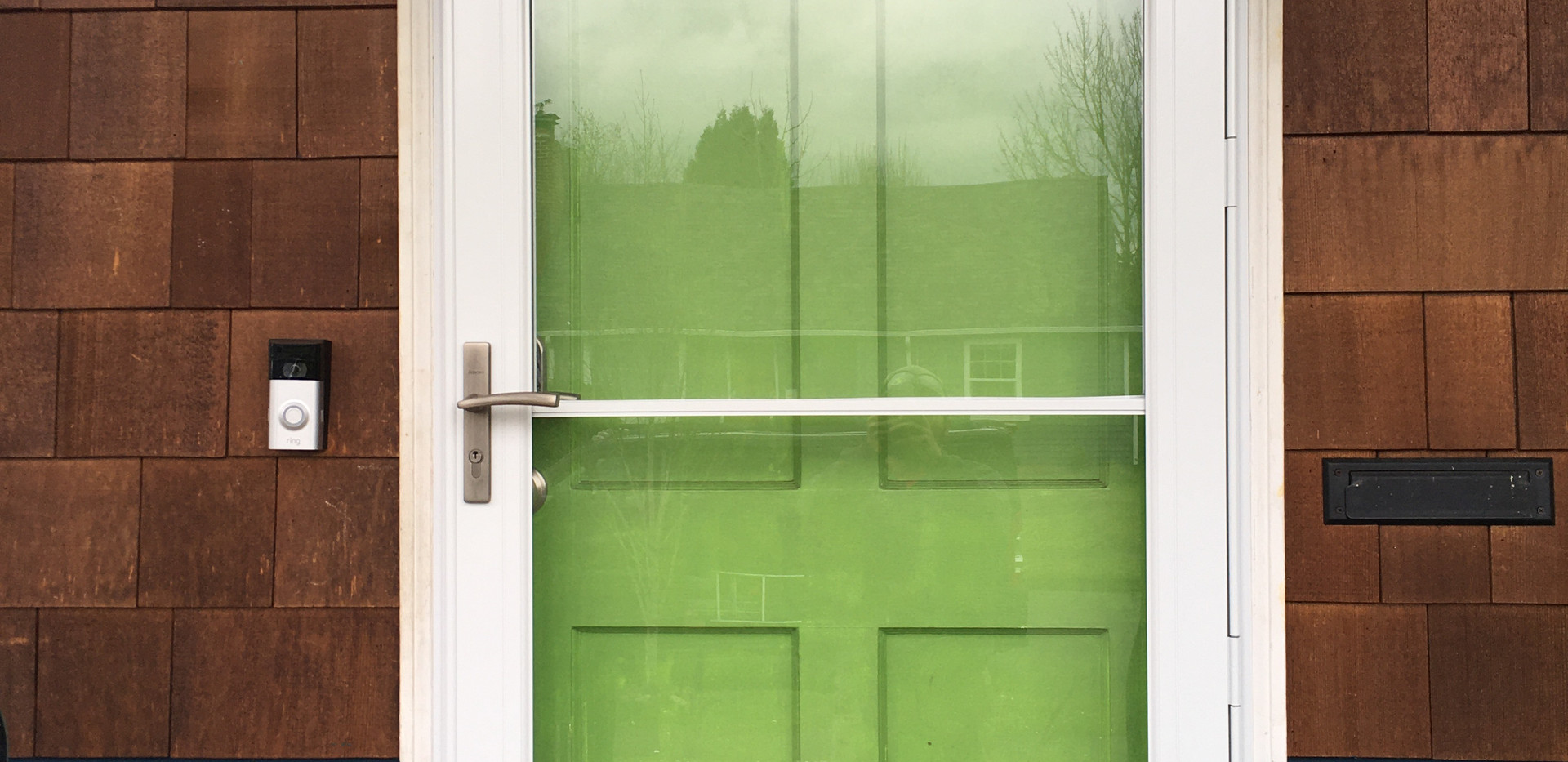 6 panel green door and glass door