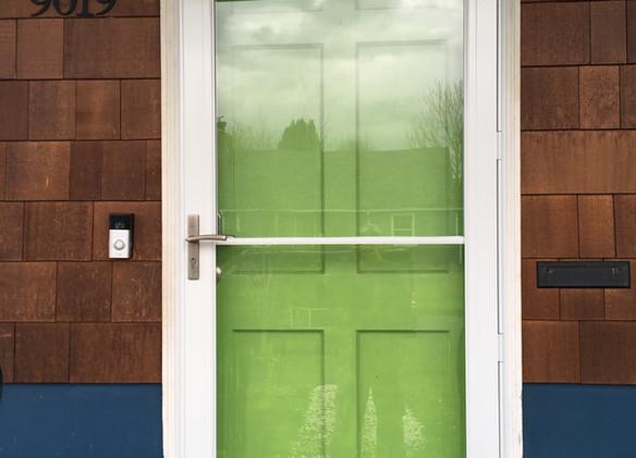 6 panel green door and glass door