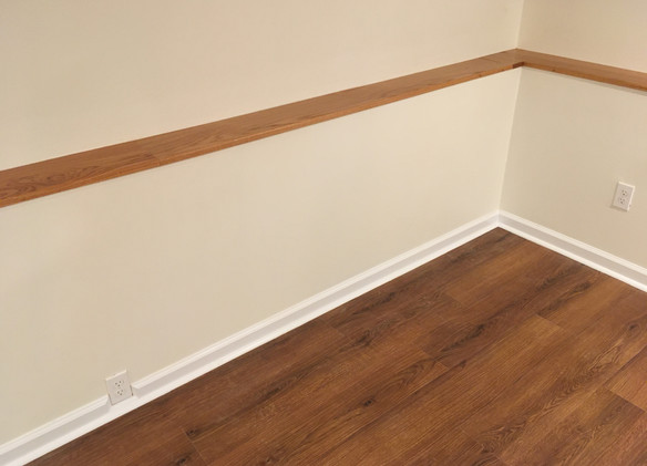 Floors, tricky baseboard, accent rail.