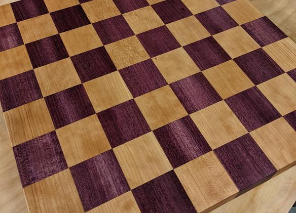 Purpleheart and cherry Chess Board.jpg