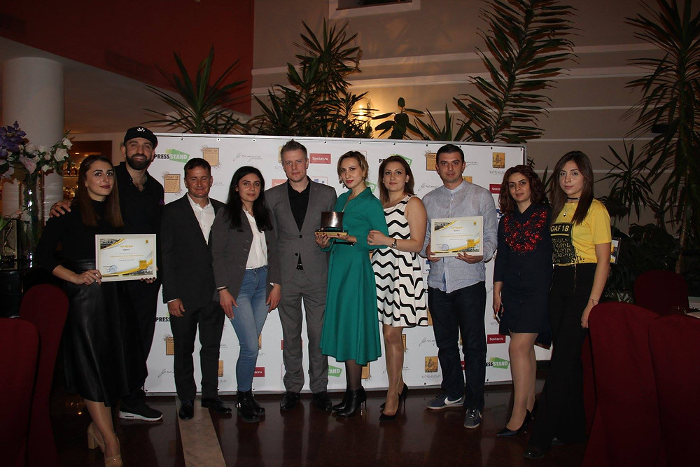 ECF and WWF Armenia accepting their award for best social marketing in 2018.
