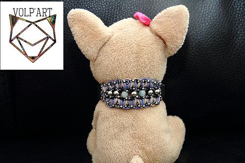 Collier coloris violet-beige pour chien / chat avec pierres thérapeutiques