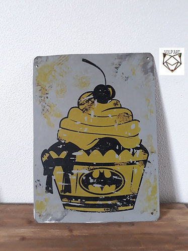 Plaque de décoration en métal Batman cupcake