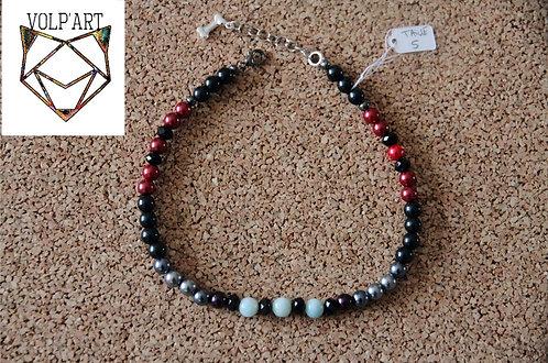 Collier coloris gris-rouge-noir pour chien / chat avec pierres thérapeutiques