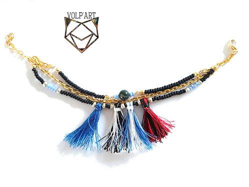 Bracelet  multi-rangs agate - réf. b10