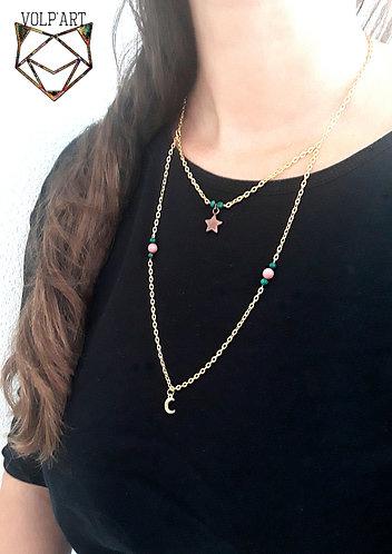 Double collier rhodonite / malachite - réf. c04
